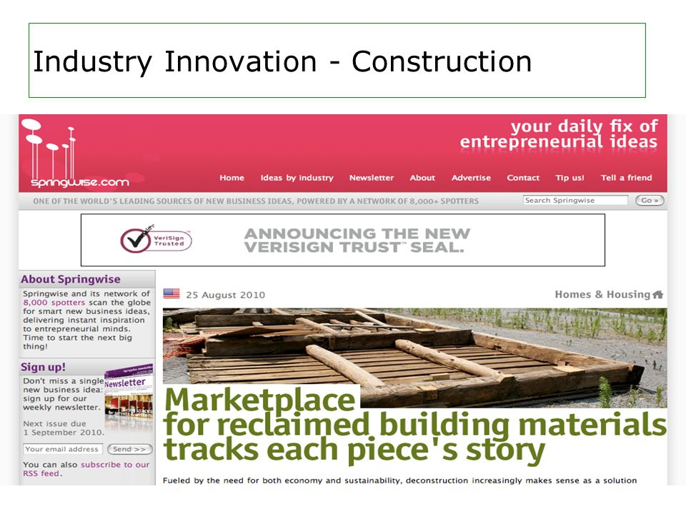 Industry Innovation - Construction