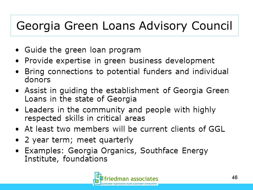 46 Georgia Green Loans Advisory Council Guide the green loan program Provide expertise in green business development Bring connections to potential fu