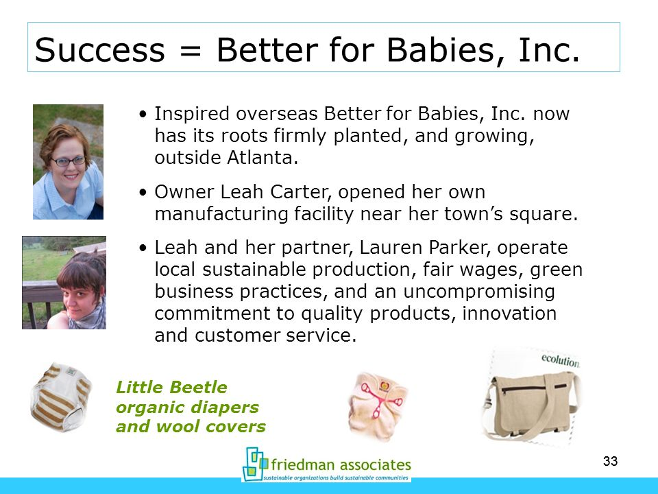 33 Success = Better for Babies, Inc. Inspired overseas Better for Babies, Inc. now has its roots firmly planted, and growing, outside Atlanta. Owner L