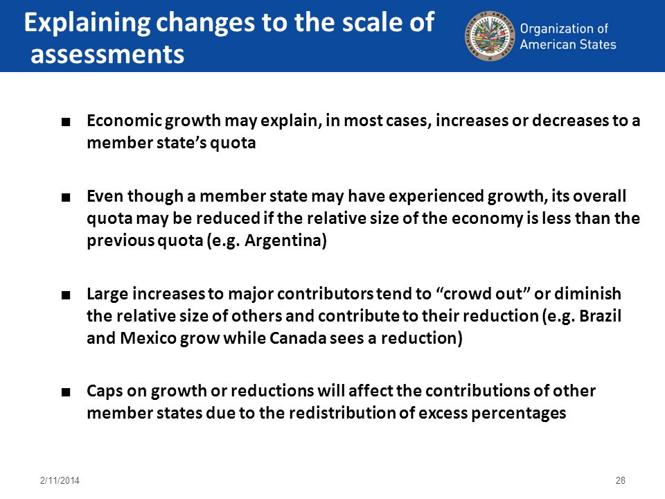 2/11/201428 Economic growth may explain, in most cases, increases or decreases to a member states quota Even though a member state may have experience