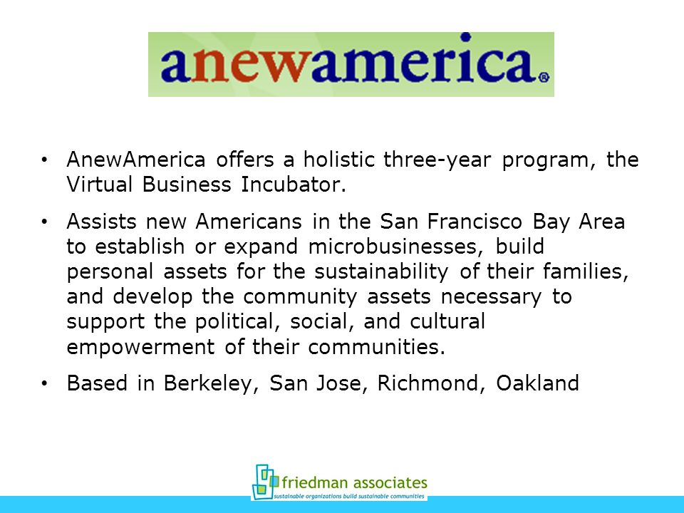 AnewAmerica offers a holistic three-year program, the Virtual Business Incubator.