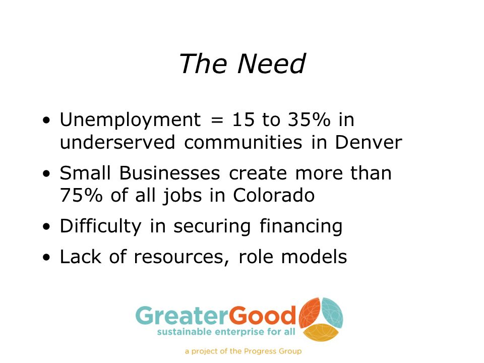The Need Unemployment = 15 to 35% in underserved communities in Denver Small Businesses create more than 75% of all jobs in Colorado Difficulty in sec