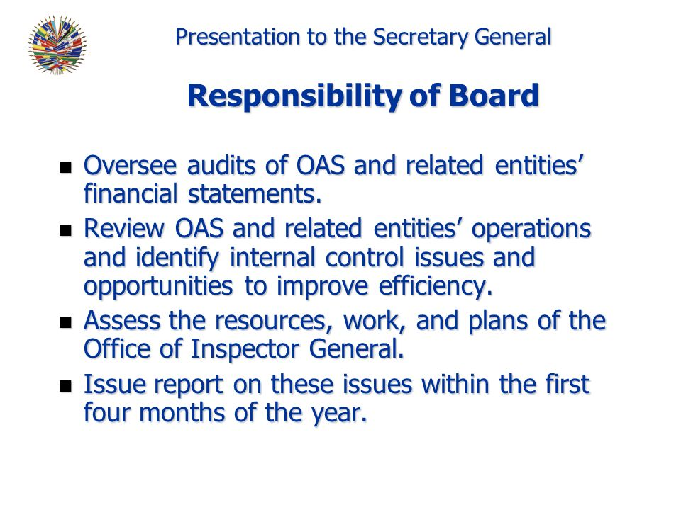 Presentation to the Secretary General Responsibility of Board n Oversee audits of OAS and related entities financial statements.