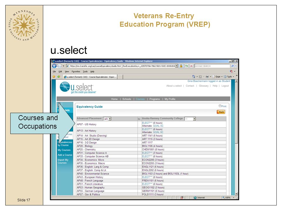 Slide 17 u.select Veterans Re-Entry Education Program (VREP) Courses and Occupations