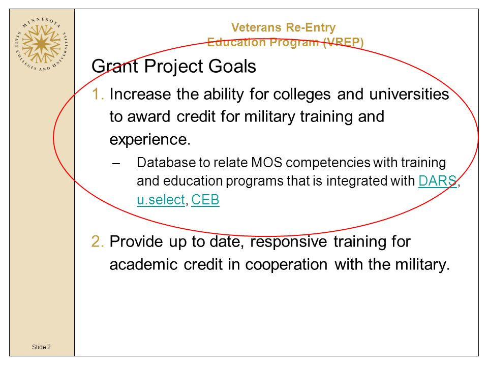 Slide 2 Grant Project Goals 1.Increase the ability for colleges and universities to award credit for military training and experience. –Database to re