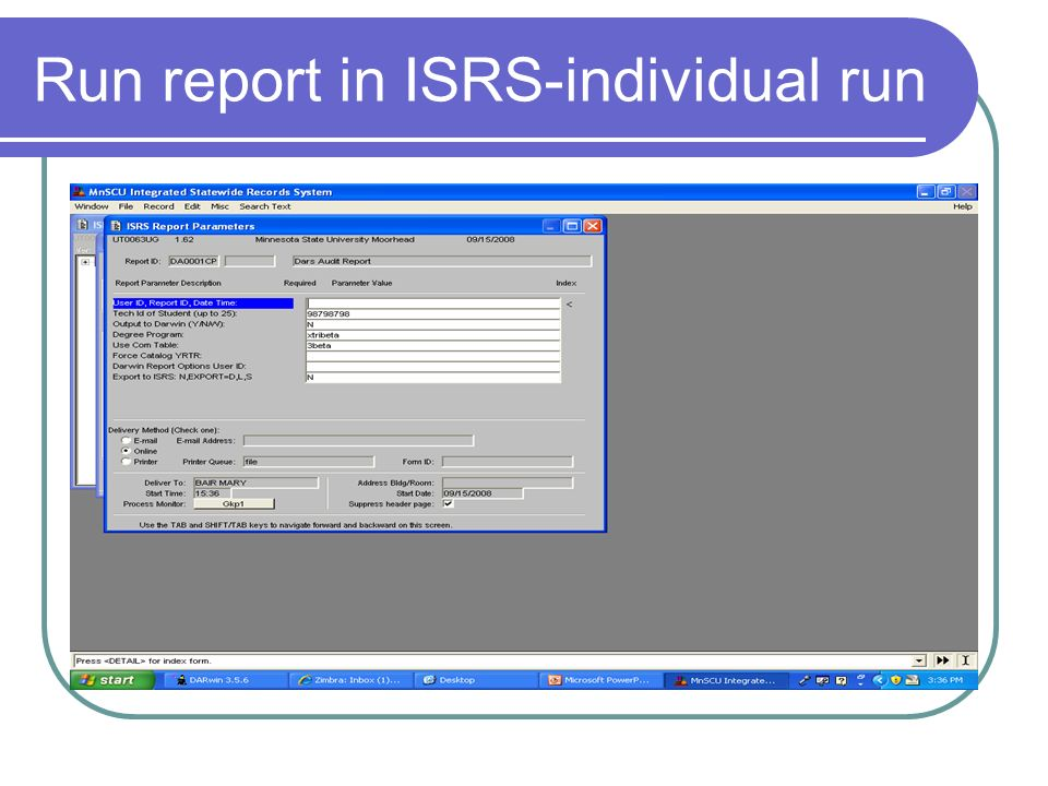 Run report in ISRS-individual run