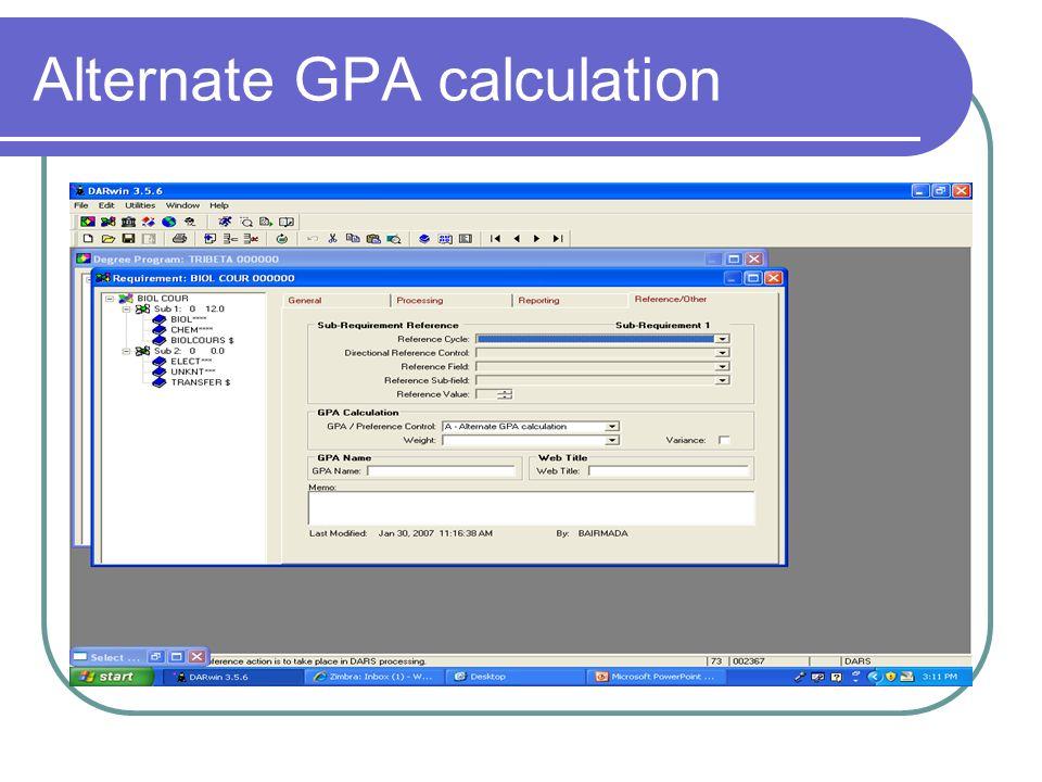 Alternate GPA calculation
