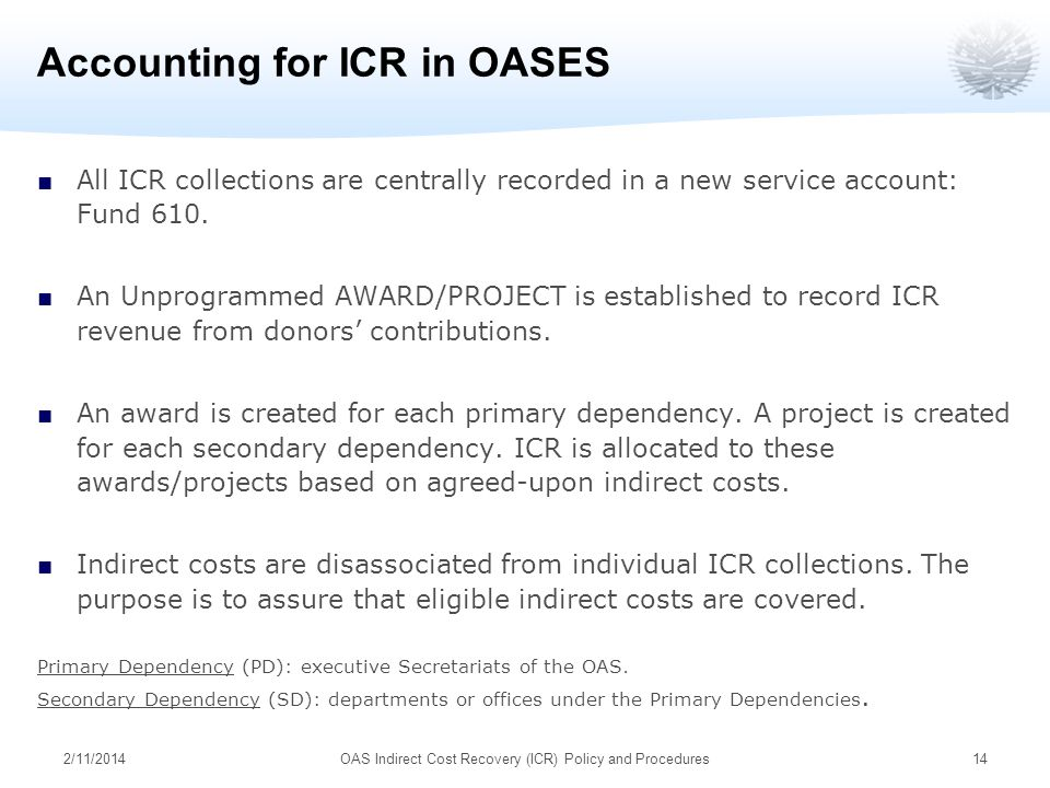 2/11/2014OAS Indirect Cost Recovery (ICR) Policy and Procedures14 Accounting for ICR in OASES All ICR collections are centrally recorded in a new serv