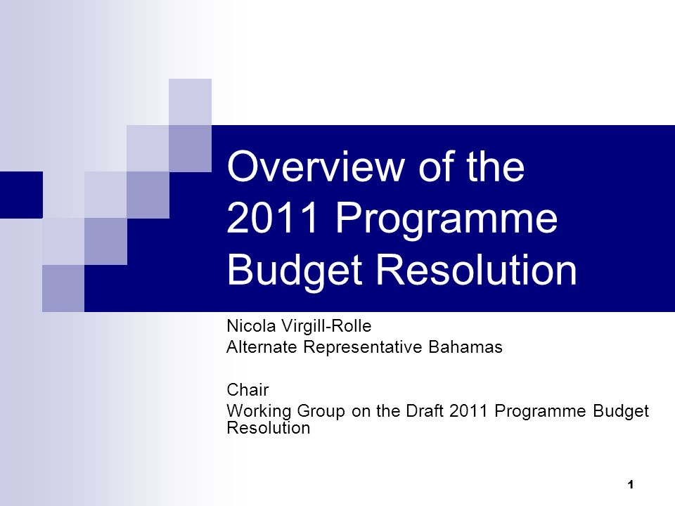 1 Overview of the 2011 Programme Budget Resolution Nicola Virgill-Rolle Alternate Representative Bahamas Chair Working Group on the Draft 2011 Program