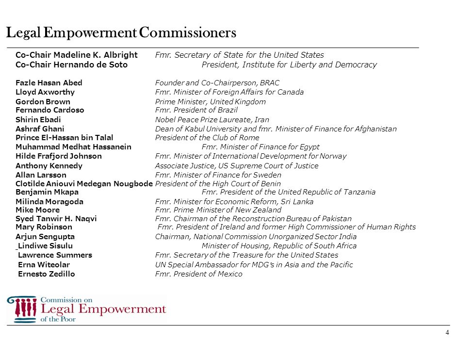4 Legal Empowerment Commissioners Co-Chair Madeline K.
