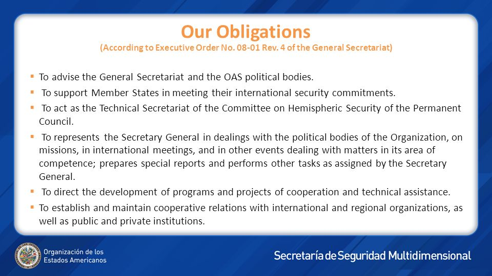 Our Obligations (According to Executive Order No. 08-01 Rev. 4 of the General Secretariat) To advise the General Secretariat and the OAS political bod