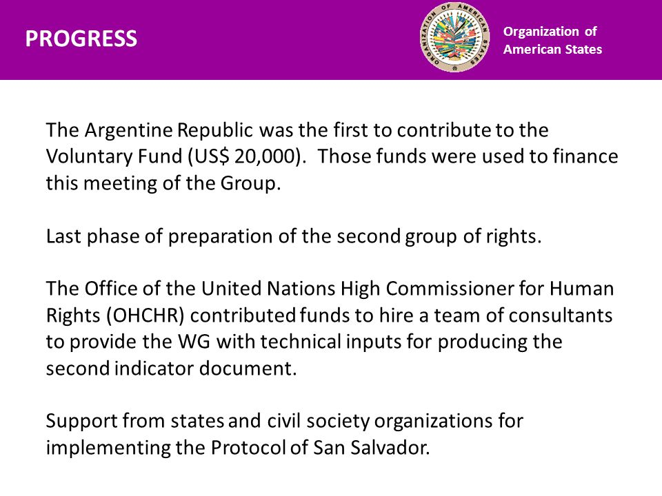 Financiamiento The Argentine Republic was the first to contribute to the Voluntary Fund (US$ 20,000). Those funds were used to finance this meeting of