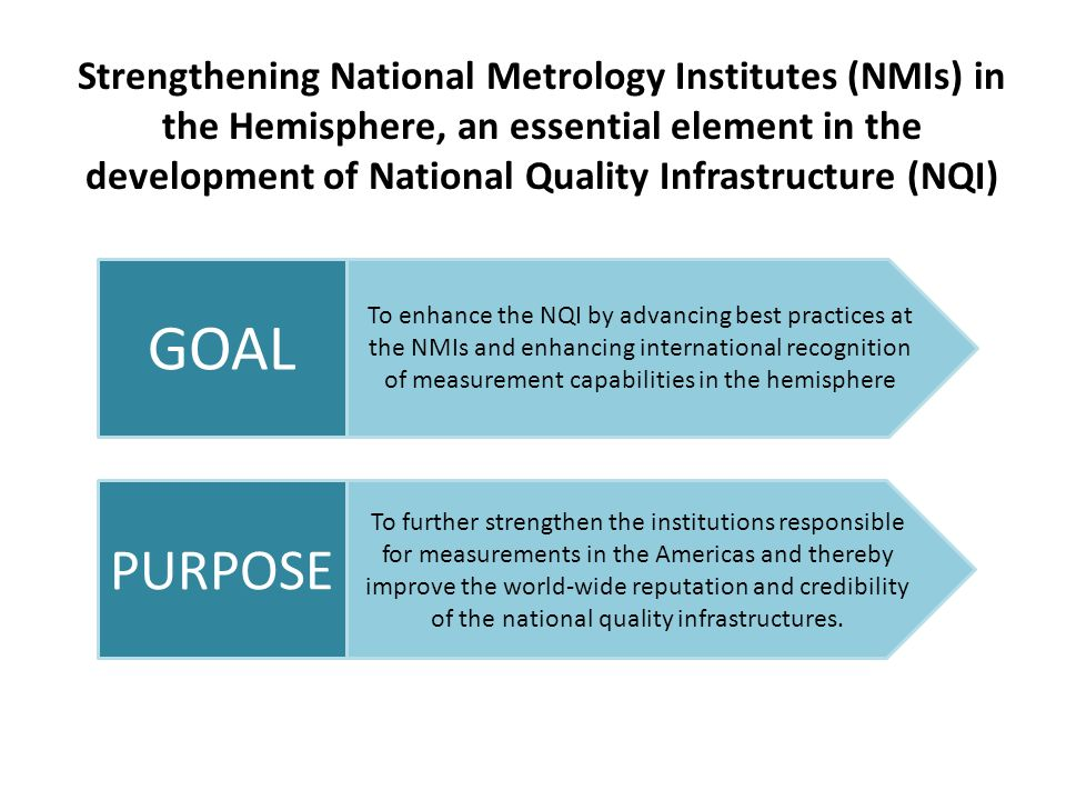 Strengthening National Metrology Institutes (NMIs) in the Hemisphere, an essential element in the development of National Quality Infrastructure (NQI) To enhance the NQI by advancing best practices at the NMIs and enhancing international recognition of measurement capabilities in the hemisphere GOAL To further strengthen the institutions responsible for measurements in the Americas and thereby improve the world-wide reputation and credibility of the national quality infrastructures.