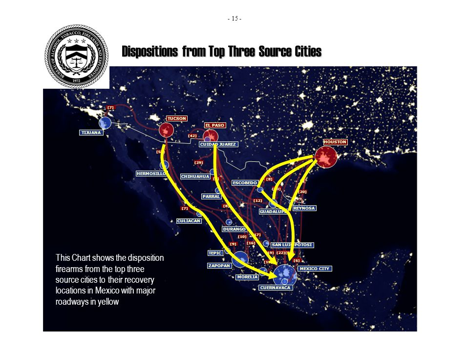 Dispositions from Top Three Source Cities This Chart shows the disposition firearms from the top three source cities to their recovery locations in Mexico with major roadways in yellow - 15 -