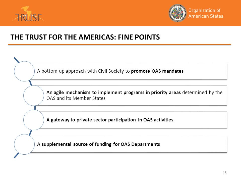15 THE TRUST FOR THE AMERICAS: FINE POINTS A bottom up approach with Civil Society to promote OAS mandates An agile mechanism to implement programs in