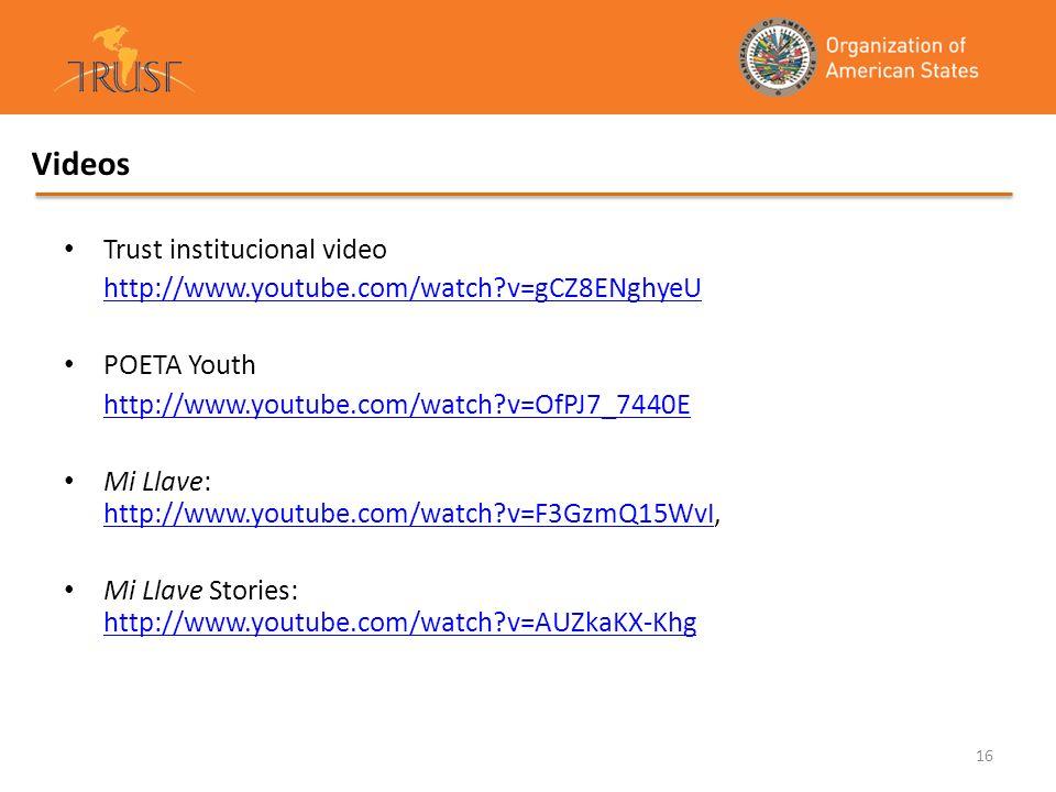 16 Videos Trust institucional video http://www.youtube.com/watch?v=gCZ8ENghyeU POETA Youth http://www.youtube.com/watch?v=OfPJ7_7440E Mi Llave: http:/