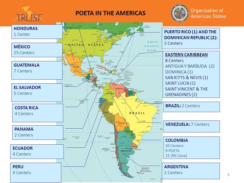 8 POETA IN THE AMERICAS GUATEMALA 7 Centers MÉXICO 17 Center ECUADOR 3 Centers PERU 3 Centros ARGENTINA 2 Centros EL SALVADOR 6 Centers HONDURAS 1 Cen