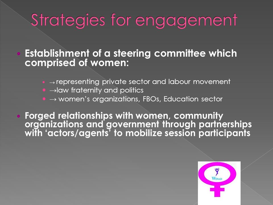 Establishment of a steering committee which comprised of women: representing private sector and labour movement law fraternity and politics womens organizations, FBOs, Education sector Forged relationships with women, community organizations and government through partnerships with actors/agents to mobilize session participants