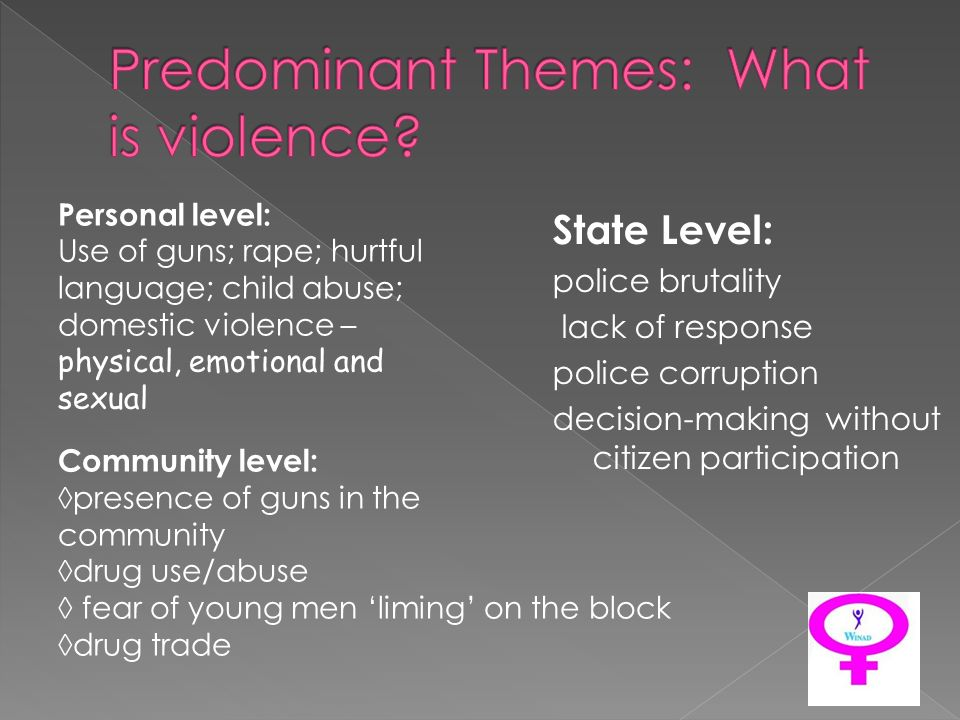 Personal level: Use of guns; rape; hurtful language; child abuse; domestic violence – physical, emotional and sexual Community level: presence of guns