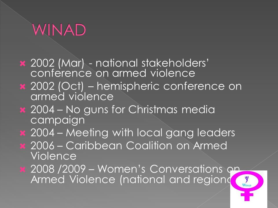 2002 (Mar) - national stakeholders conference on armed violence 2002 (Oct) – hemispheric conference on armed violence 2004 – No guns for Christmas media campaign 2004 – Meeting with local gang leaders 2006 – Caribbean Coalition on Armed Violence 2008 /2009 – Womens Conversations on Armed Violence (national and regional)