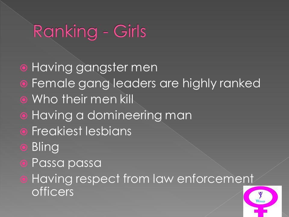 Having gangster men Female gang leaders are highly ranked Who their men kill Having a domineering man Freakiest lesbians Bling Passa passa Having resp