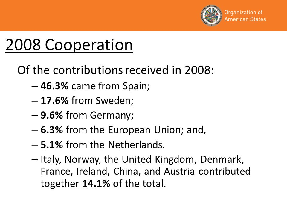 2008 Cooperation Of the contributions received in 2008: – 46.3% came from Spain; – 17.6% from Sweden; – 9.6% from Germany; – 6.3% from the European Union; and, – 5.1% from the Netherlands.