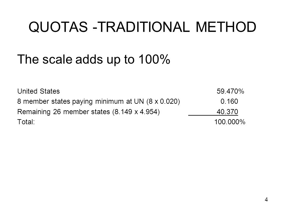 4 QUOTAS -TRADITIONAL METHOD The scale adds up to 100% United States59.470% 8 member states paying minimum at UN (8 x 0.020) Remaining 26 member states (8.149 x 4.954) Total: %