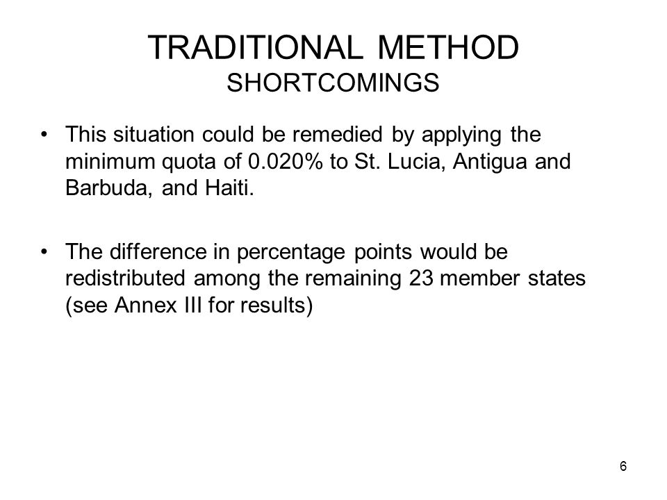 6 TRADITIONAL METHOD SHORTCOMINGS This situation could be remedied by applying the minimum quota of 0.020% to St.