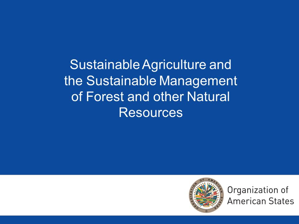 Sustainable Agriculture and the Sustainable Management of Forest and other Natural Resources