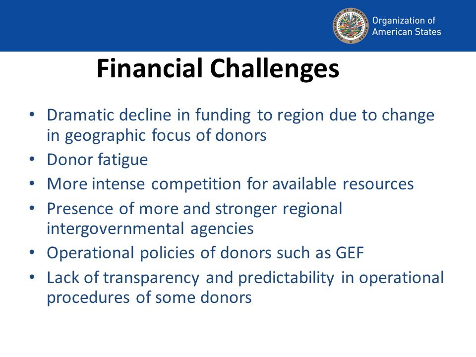 Financial Challenges Dramatic decline in funding to region due to change in geographic focus of donors Donor fatigue More intense competition for available resources Presence of more and stronger regional intergovernmental agencies Operational policies of donors such as GEF Lack of transparency and predictability in operational procedures of some donors