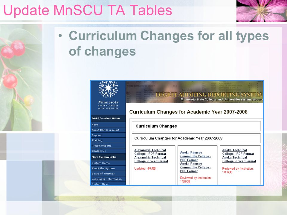 Update MnSCU TA Tables Curriculum Changes for all types of changes