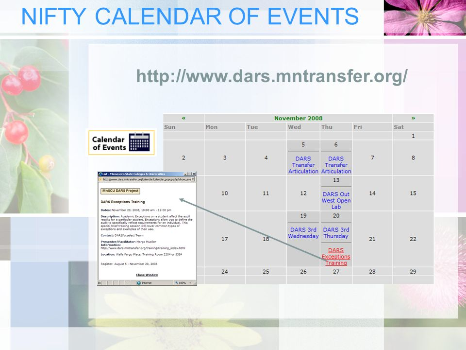 NIFTY CALENDAR OF EVENTS http://www.dars.mntransfer.org/