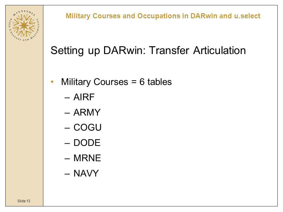 Slide 13 Military Courses and Occupations in DARwin and u.select Setting up DARwin: Transfer Articulation Military Courses = 6 tables –AIRF –ARMY –COG