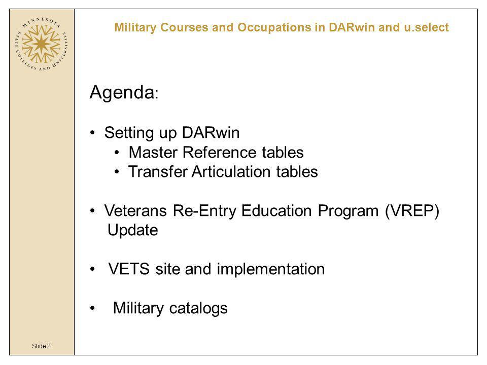 Slide 2 Military Courses and Occupations in DARwin and u.select Agenda : Setting up DARwin Master Reference tables Transfer Articulation tables Vetera