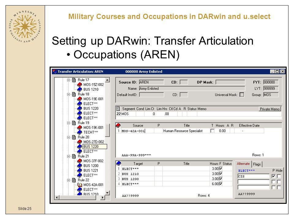 Slide 25 Military Courses and Occupations in DARwin and u.select Setting up DARwin: Transfer Articulation Occupations (AREN)