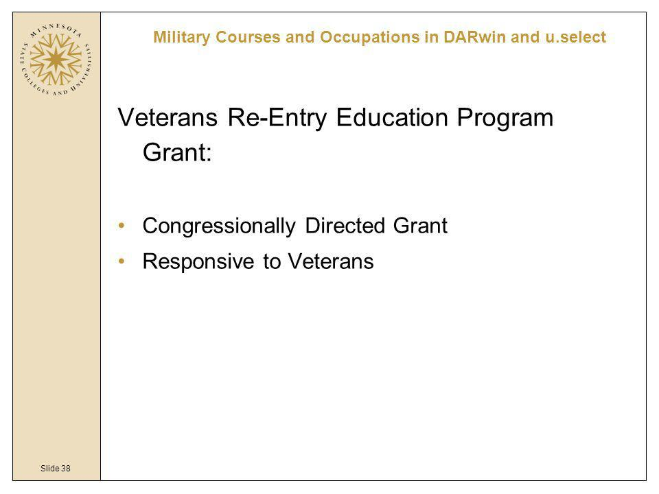 Slide 38 Veterans Re-Entry Education Program Grant: Congressionally Directed Grant Responsive to Veterans Military Courses and Occupations in DARwin and u.select