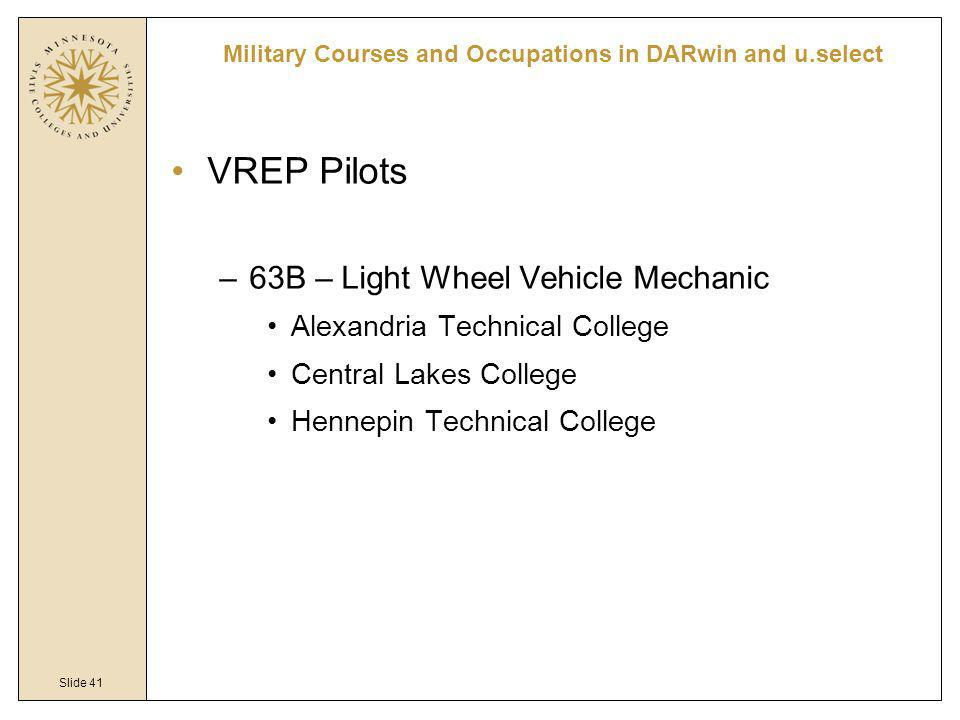 Slide 41 VREP Pilots –63B – Light Wheel Vehicle Mechanic Alexandria Technical College Central Lakes College Hennepin Technical College Military Courses and Occupations in DARwin and u.select