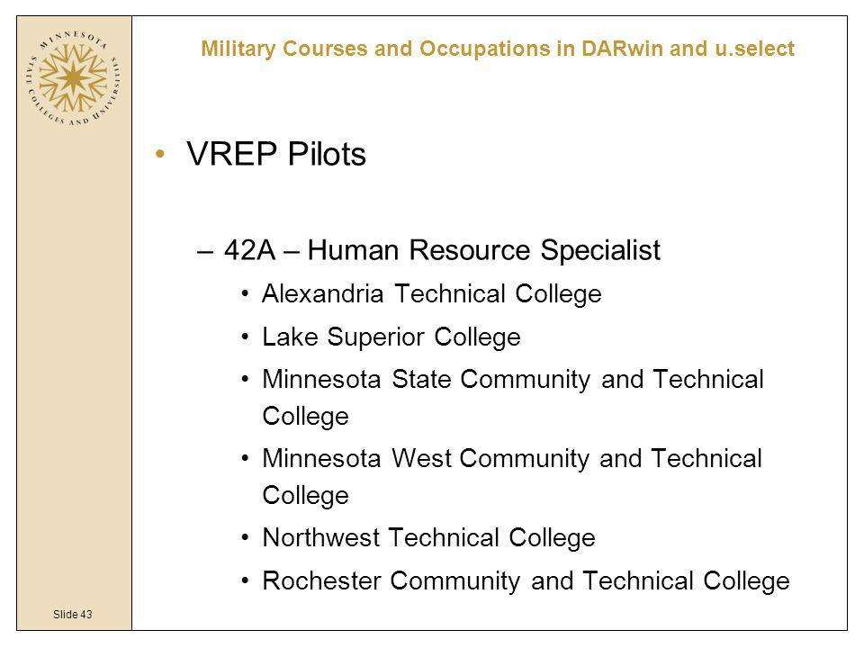 Slide 43 VREP Pilots –42A – Human Resource Specialist Alexandria Technical College Lake Superior College Minnesota State Community and Technical College Minnesota West Community and Technical College Northwest Technical College Rochester Community and Technical College Military Courses and Occupations in DARwin and u.select