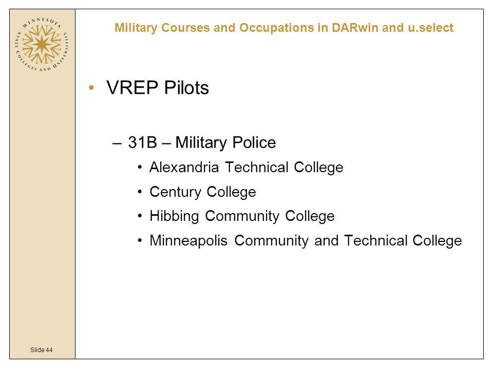 Slide 44 VREP Pilots –31B – Military Police Alexandria Technical College Century College Hibbing Community College Minneapolis Community and Technical