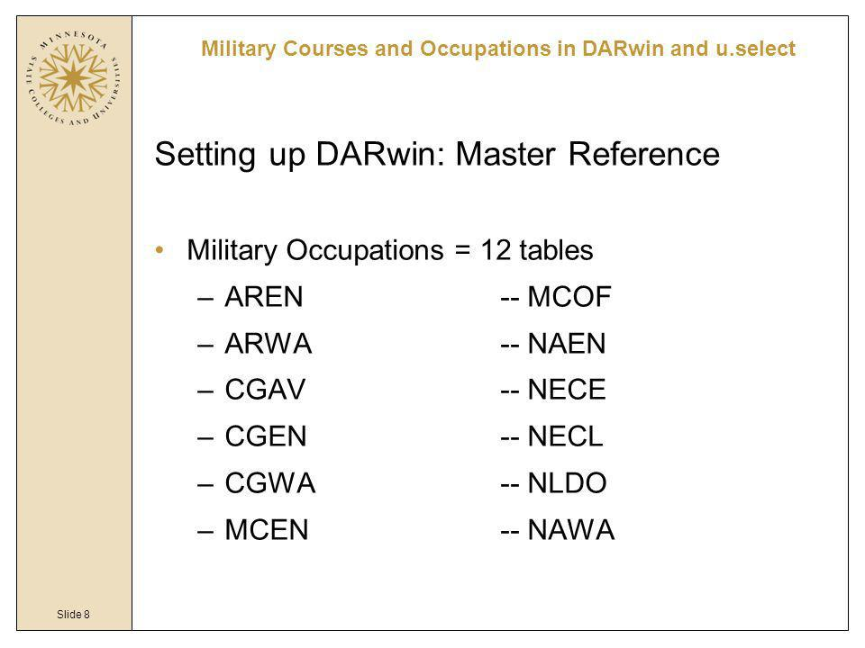 Slide 8 Military Courses and Occupations in DARwin and u.select Setting up DARwin: Master Reference Military Occupations = 12 tables –AREN-- MCOF –ARW
