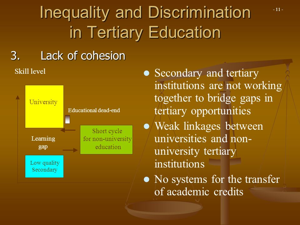 Learning gap Inequality and Discrimination in Tertiary Education Secondary and tertiary institutions are not working together to bridge gaps in tertia