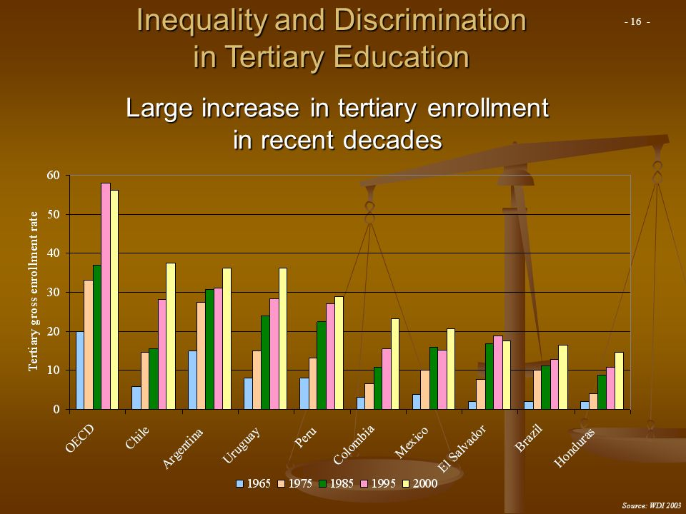 Large increase in tertiary enrollment in recent decades Source: WDI 2003 Inequality and Discrimination in Tertiary Education - 16 -