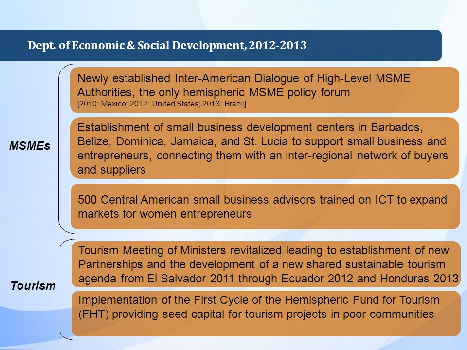 Establishment of small business development centers in Barbados, Belize, Dominica, Jamaica, and St.