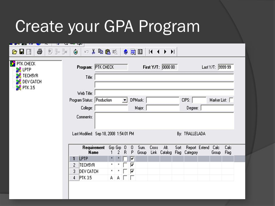 Create your GPA Program