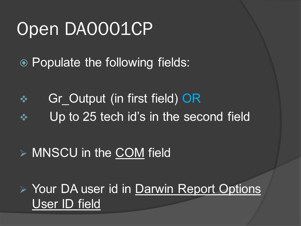 DA0001CP field cont.