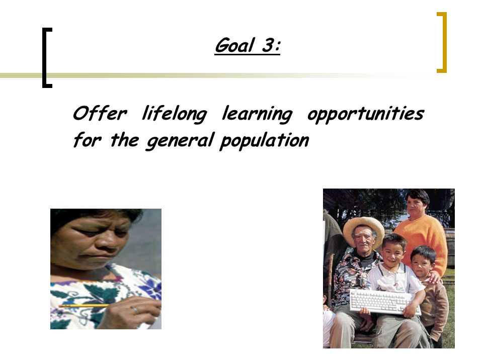 Goal 3: Offer lifelong learning opportunities for the general population