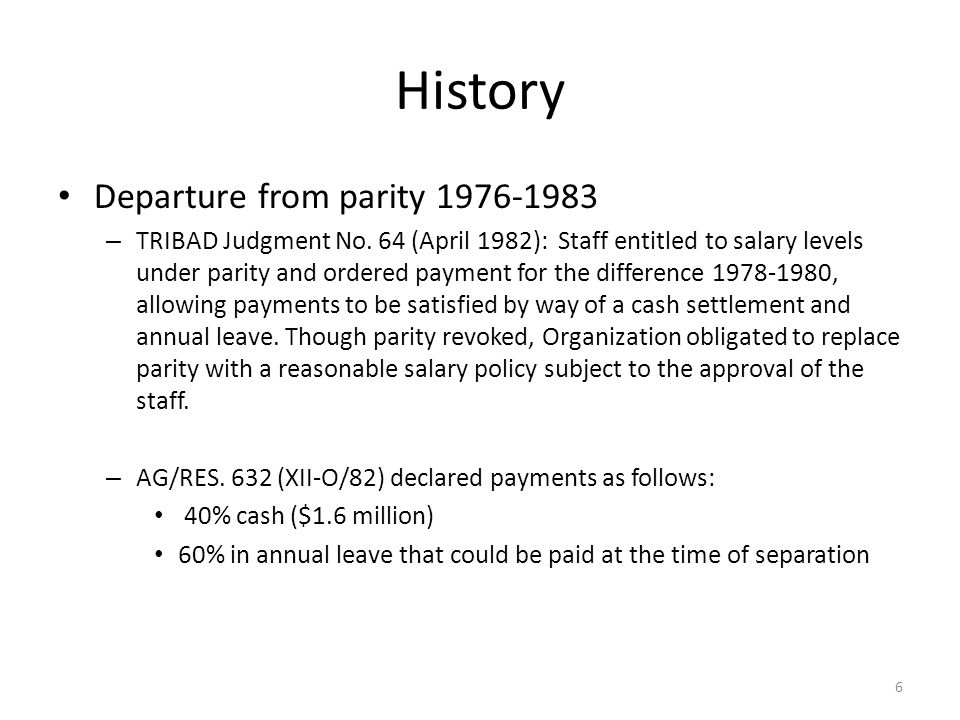 History Departure from parity 1976-1983 – TRIBAD Judgment No.