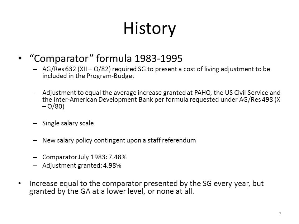 History Comparator formula 1983-1995 – AG/Res 632 (XII – O/82) required SG to present a cost of living adjustment to be included in the Program-Budget – Adjustment to equal the average increase granted at PAHO, the US Civil Service and the Inter-American Development Bank per formula requested under AG/Res 498 (X – O/80) – Single salary scale – New salary policy contingent upon a staff referendum – Comparator July 1983: 7.48% – Adjustment granted: 4.98% Increase equal to the comparator presented by the SG every year, but granted by the GA at a lower level, or none at all.