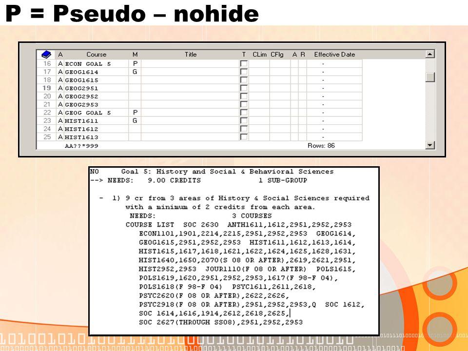 P = Pseudo – nohide