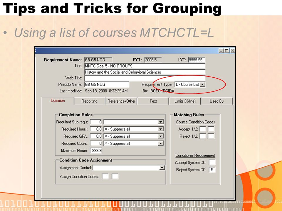 Tips and Tricks for Grouping Using a list of courses MTCHCTL=L